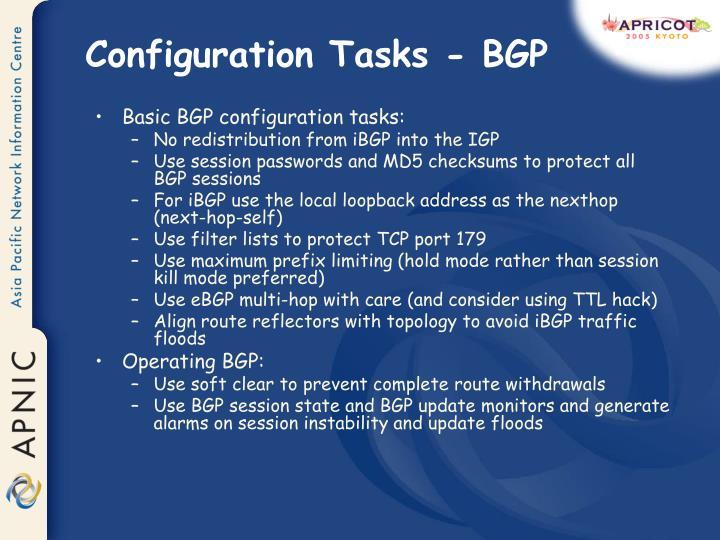 Configuration Tasks - BGP