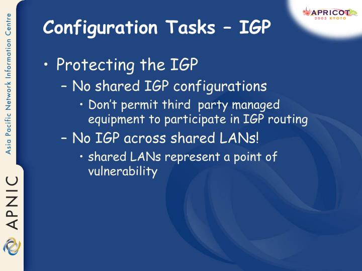 Configuration Tasks – IGP