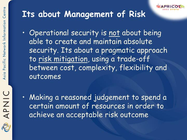 Its about management of risk