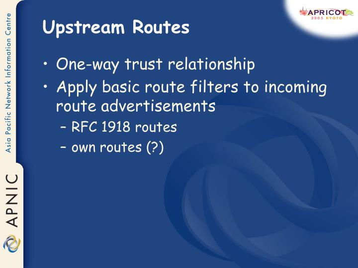 Upstream Routes