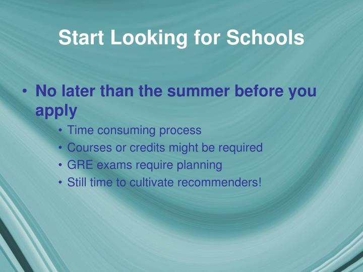 Start Looking for Schools