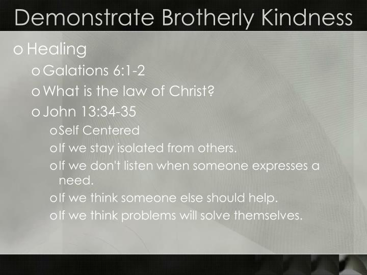 Demonstrate Brotherly Kindness
