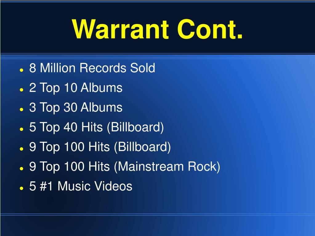 Warrant Cont.