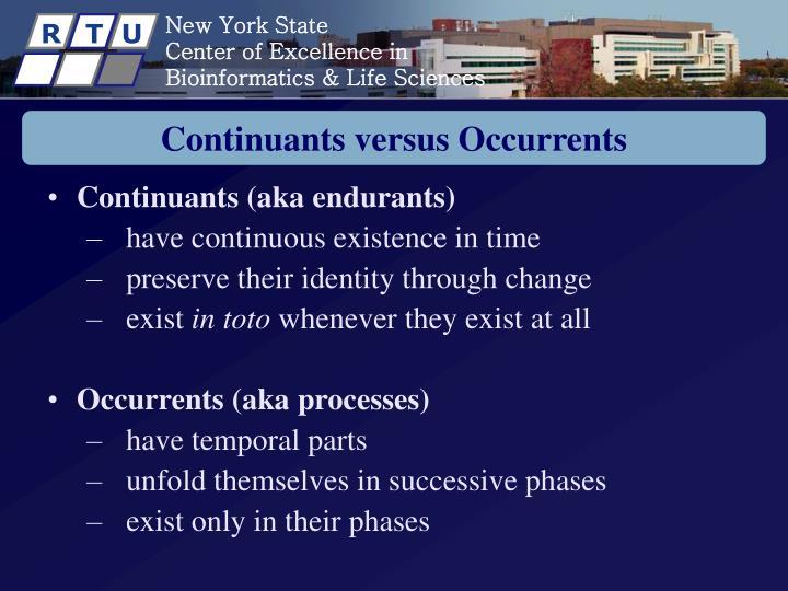 Continuants versus Occurrents