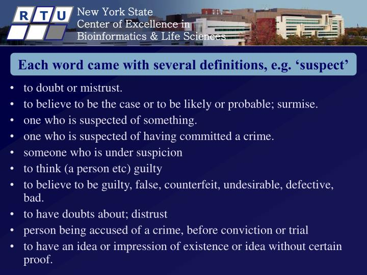 Each word came with several definitions, e.g. 'suspect'