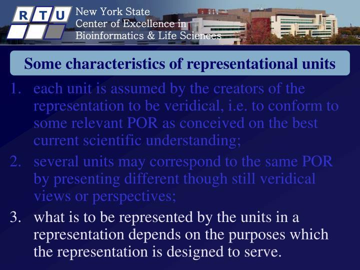 Some characteristics of representational units
