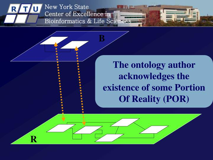 The ontology author acknowledges the existence of some Portion Of Reality (POR)