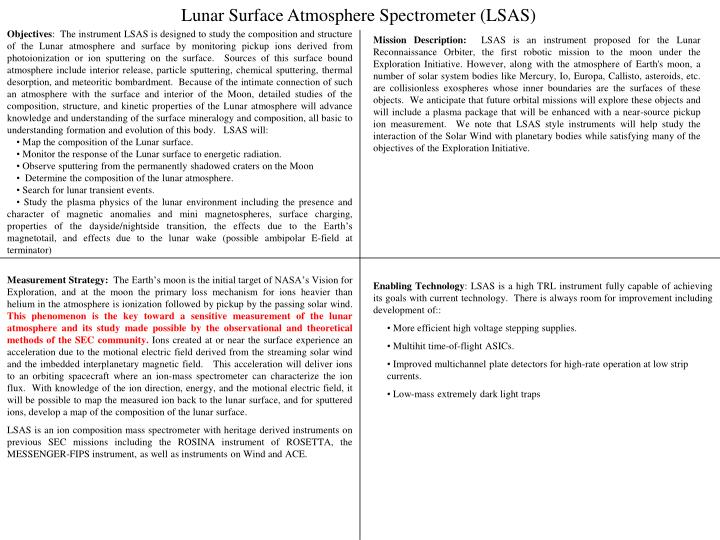 Lunar Surface Atmosphere Spectrometer (LSAS)