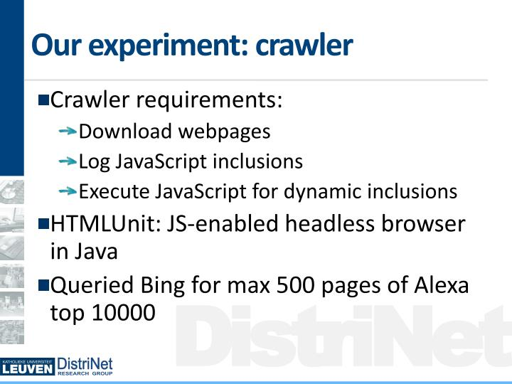 Our experiment: crawler