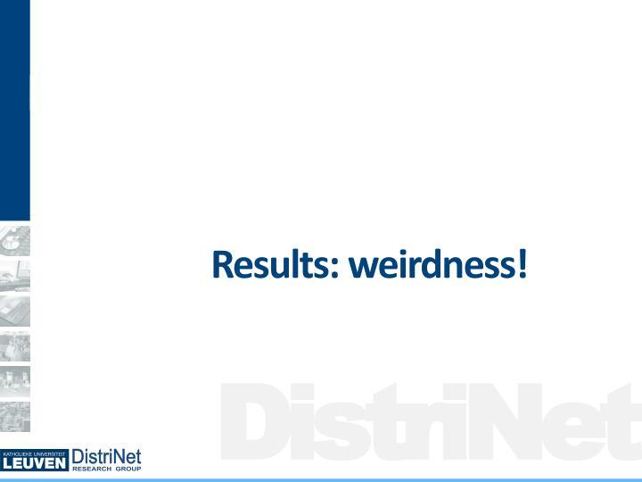 Results: weirdness!