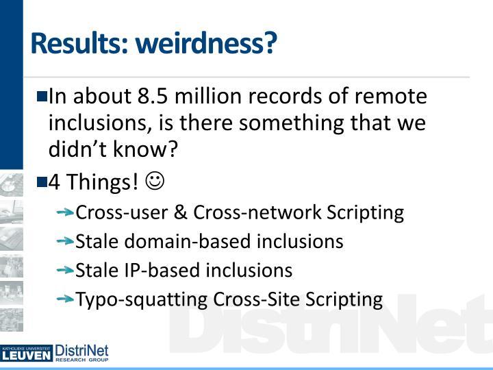 Results: weirdness?