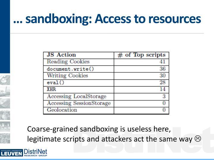 … sandboxing: