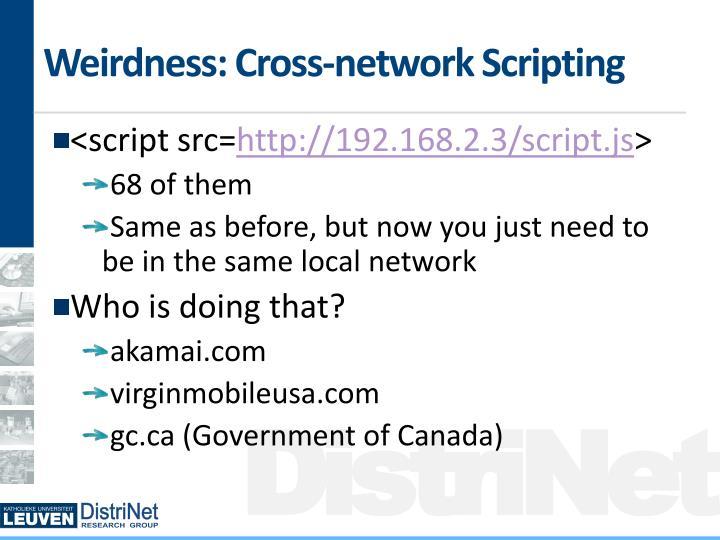 Weirdness: Cross-network