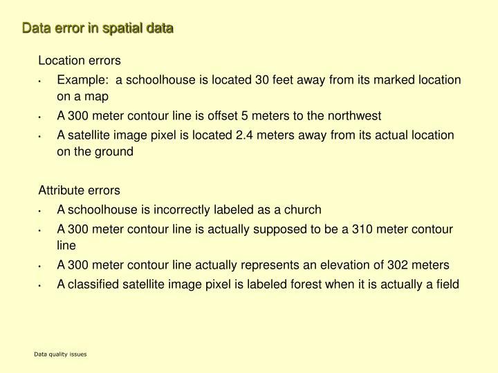 Data error in spatial data