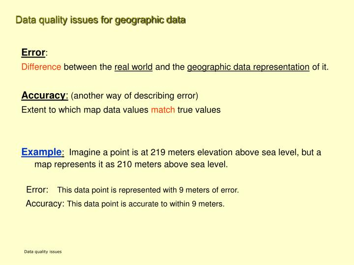 Data quality issues for geographic data