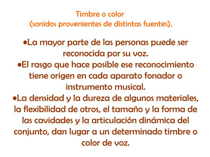 Timbre o color