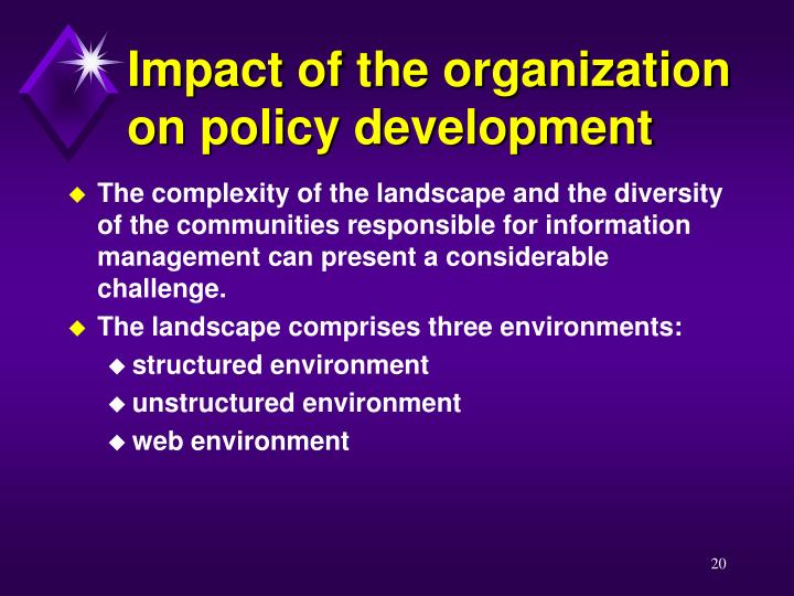 Impact of the organization on policy development