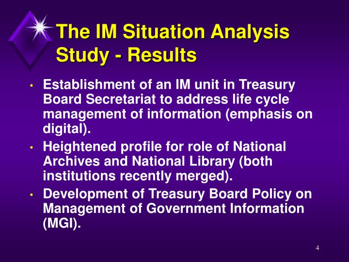 The IM Situation Analysis Study - Results