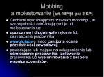 mobbing a molestowanie art 18 3a 5 pkt 2 kp