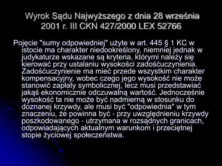 Wyrok Sądu Najwyższego z dnia 28 września 2001 r. III CKN 427/2000 LEX 52766