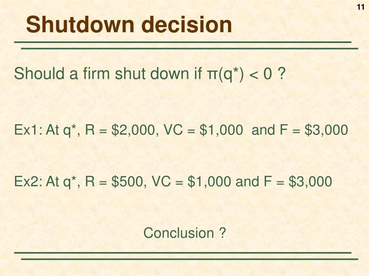 Shutdown decision