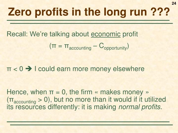 Zero profits in the long run ???