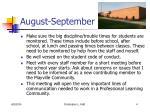 august september