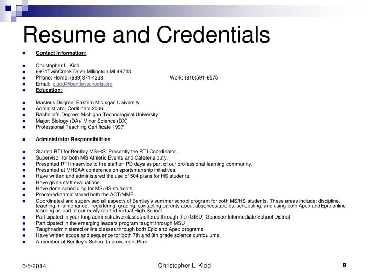 Resume and Credentials