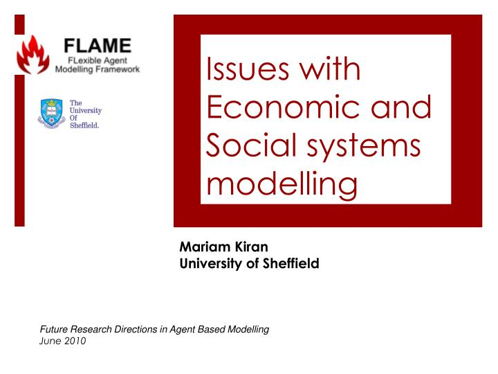 Issues with economic and social systems modelling