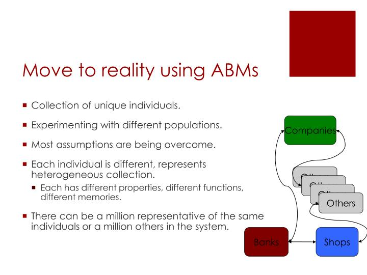 Move to reality using ABMs
