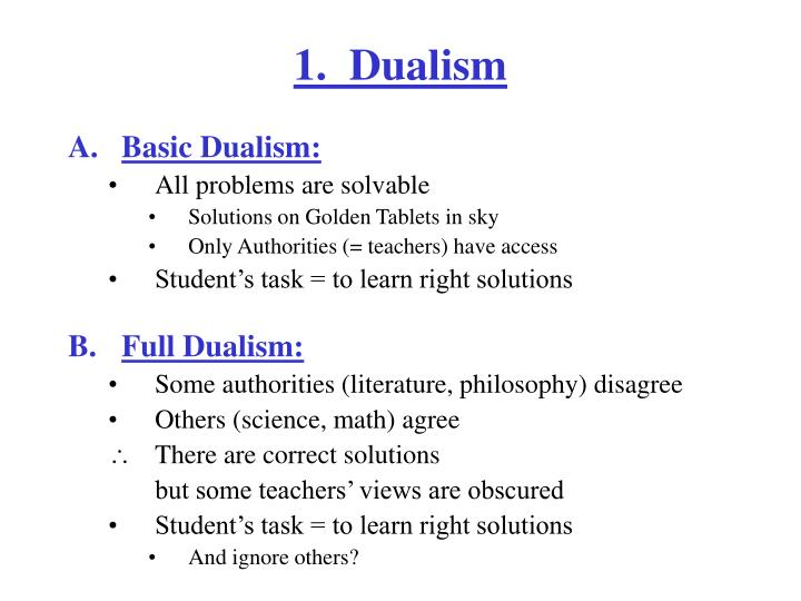 1.  Dualism