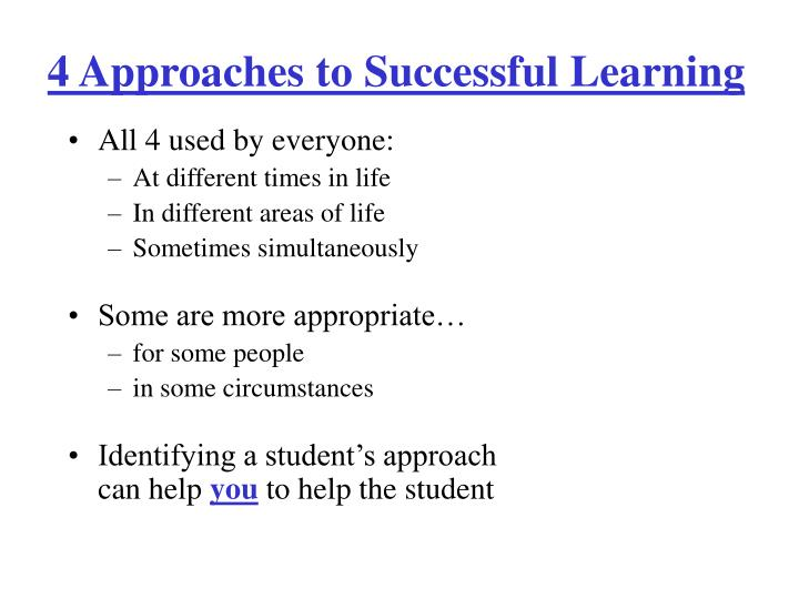 4 Approaches to Successful Learning