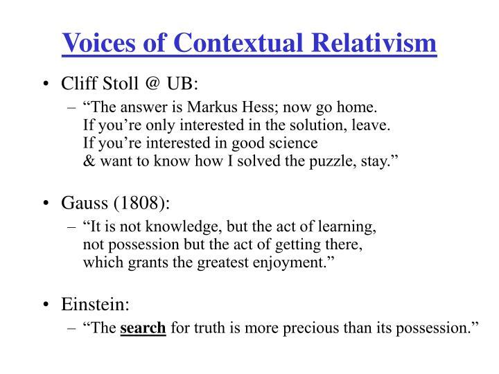 Voices of Contextual Relativism