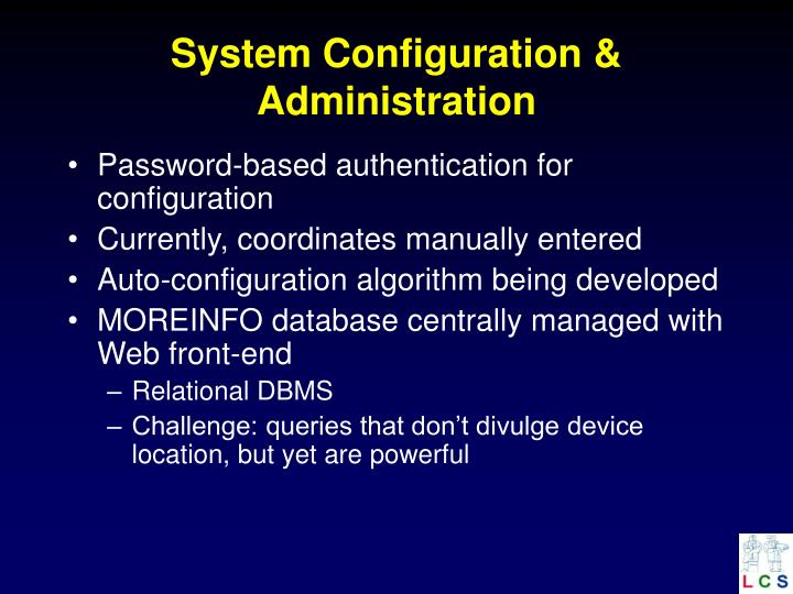 System Configuration & Administration