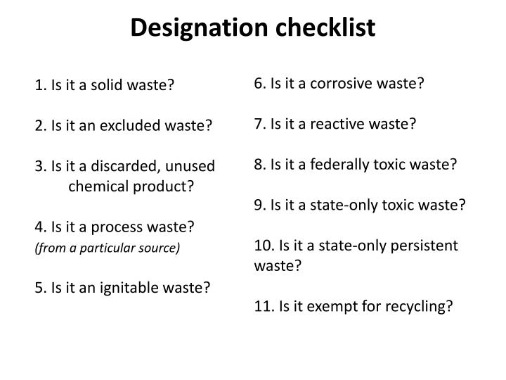 Designation checklist