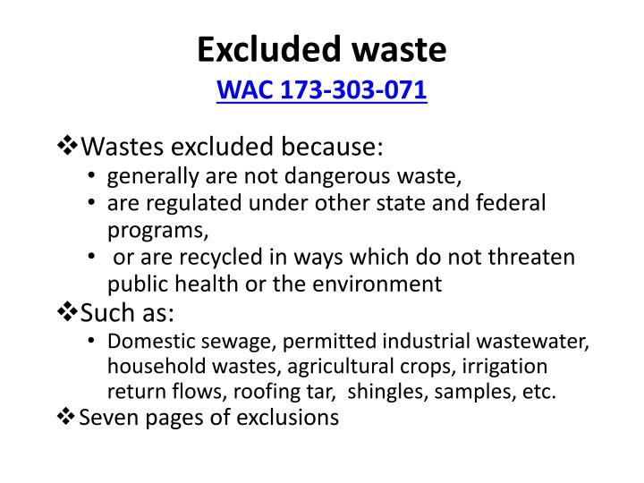 Excluded waste