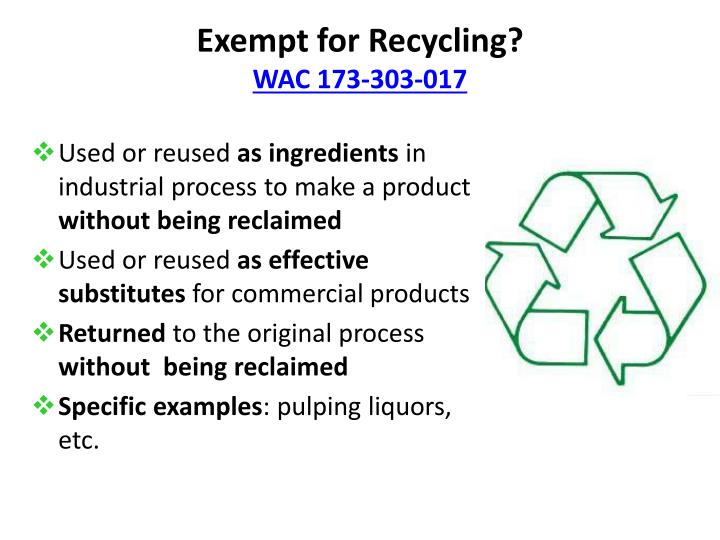 Exempt for Recycling?