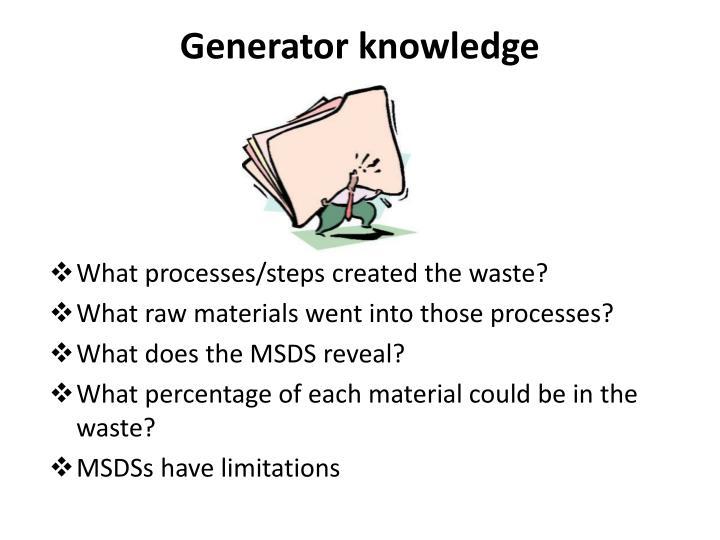 Generator knowledge