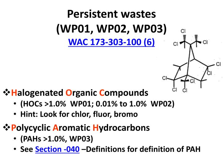 Persistent wastes