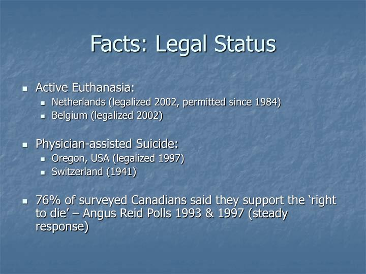a reflection on the morality and legality of physician assisted suicide euthanasia Euthanasia and end-of-life practices in france and germany a comparative  system that accepts euthanasia or assisted suicide,  legality and morality of.