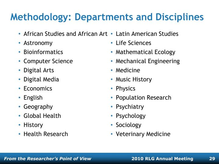 Methodology: Departments and Disciplines
