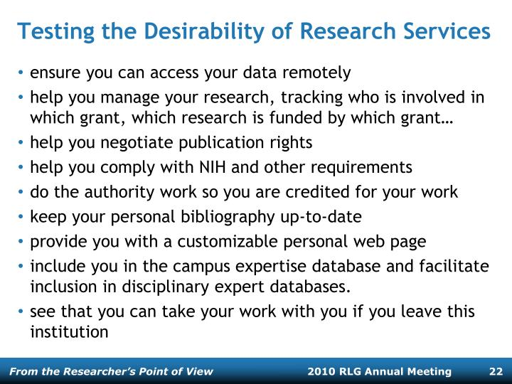 Testing the Desirability of Research Services