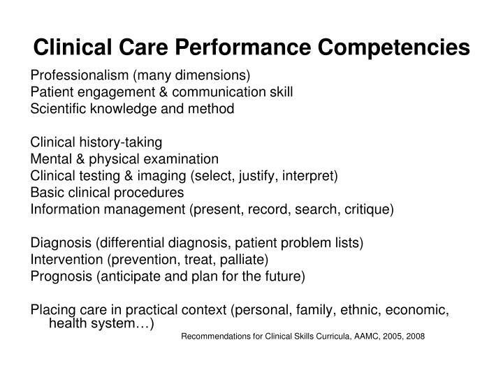 Clinical Care Performance Competencies