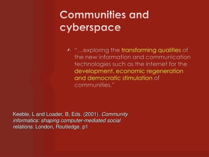 Communities and cyberspace