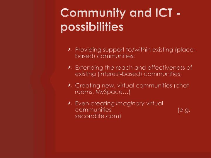 Community and ICT - possibilities