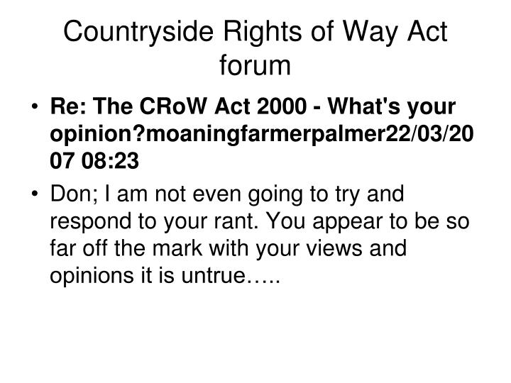 Countryside Rights of Way Act forum
