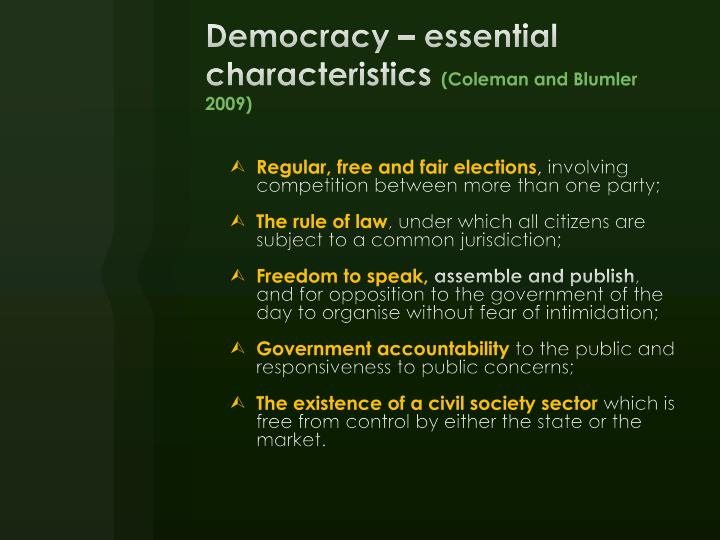 Democracy – essential characteristics