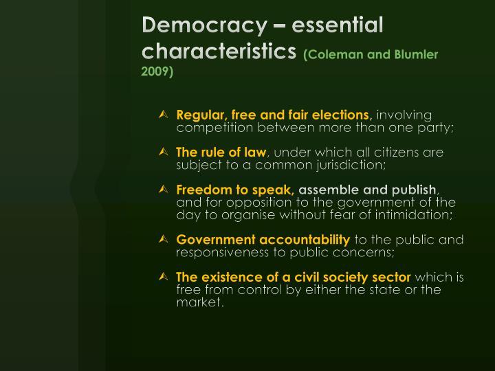 Democracy – essential characteristics
