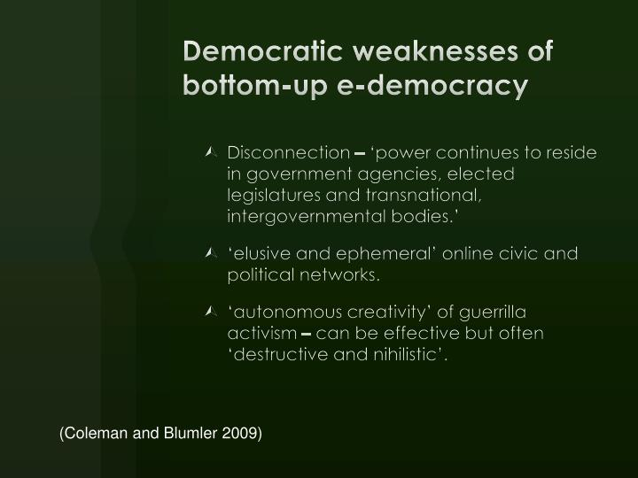 Democratic weaknesses of bottom-up e-democracy
