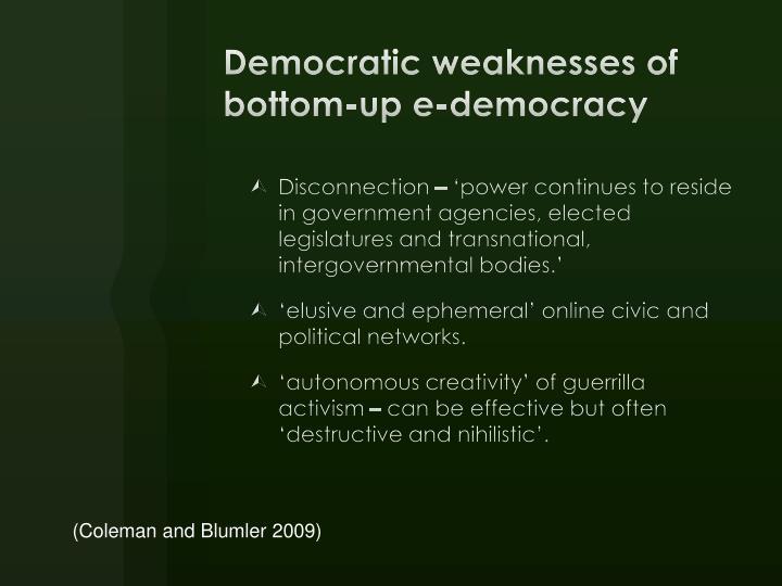 Democratic weaknesses of bottom-up e-democracy